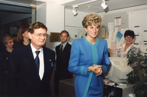 Dr. Keon leads Her Royal Highness, Diana, Princess of Wales, and Canadian Prime Minister Brian Mulroney and his wife on a guided tour of the Heart Institute.